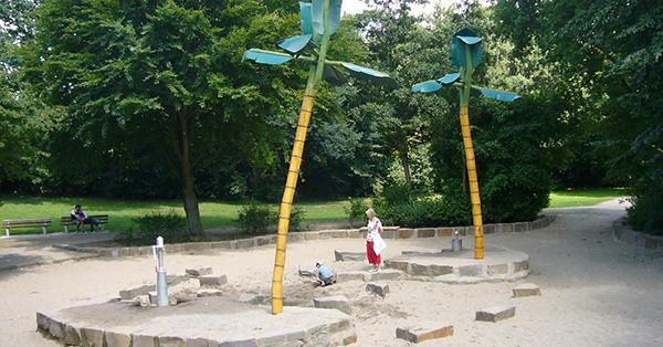Der Wasserspielplatz Freizeitpark / Krefelder Straße in Moers ist besonders beliebt. Foto: Stadt Moers