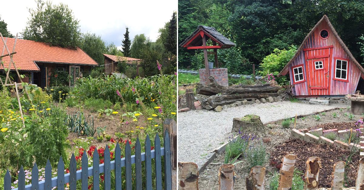 Bauerhaus (l.) und Hexen-Kräutergarten, Foto: Schilling
