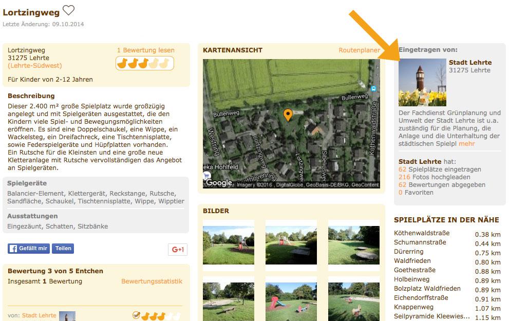 Bei jedem Spielplatz-Eintrag der Stadt Lehrte ist das städtische Userprofil direkt zu sehen.
