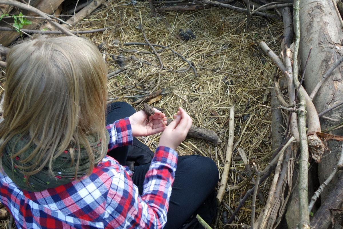 Kind beobachtet Frosch