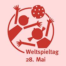Illustration, zwei Kinder spielen mit einem Ball
