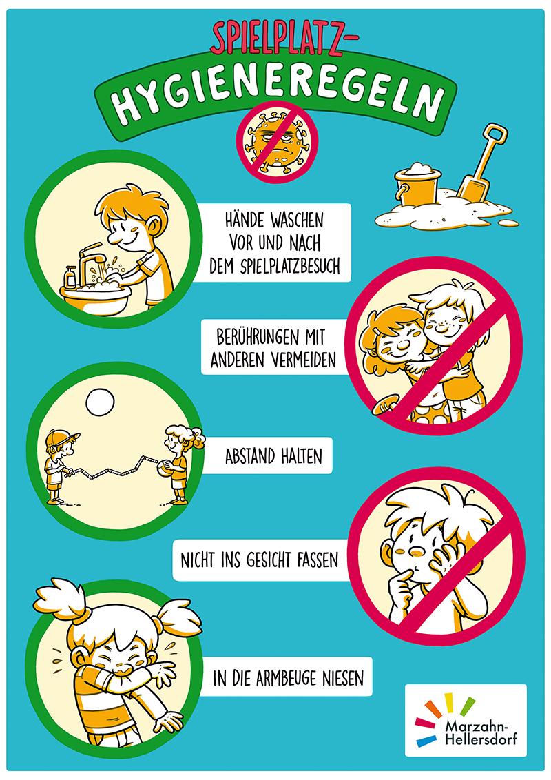 Plakat mit Hygiene-Regeln für den Spielplatz