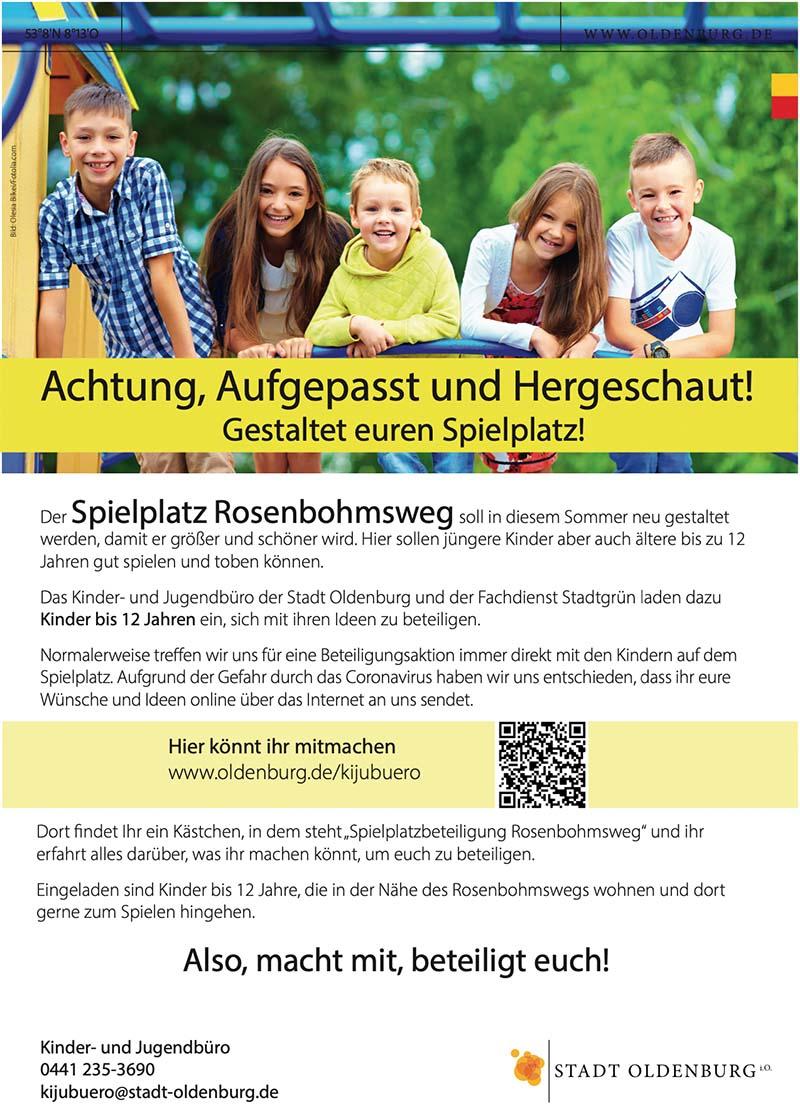 Plakat Spielplatzbeteiligung Oldenburg
