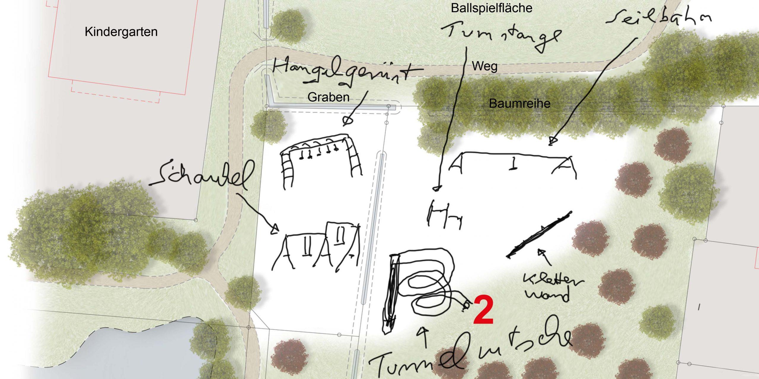 Skizze Spielplatz-Entwurf