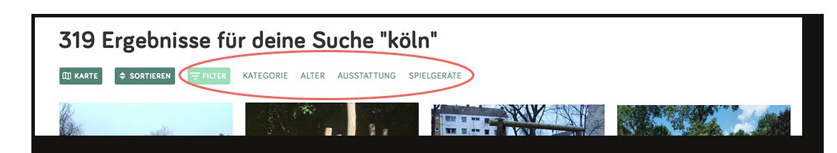 Filterfunktion Spielplatztreff.de