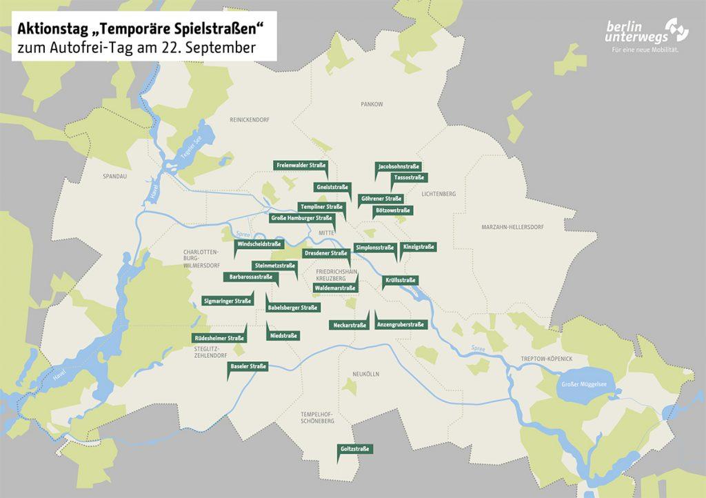 Karte mit Spielstraßen in Berlin