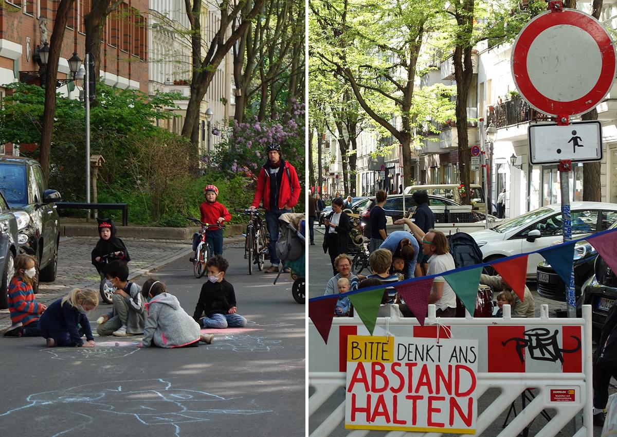 Kinder tragen Masken und malen mit Straßenkreide