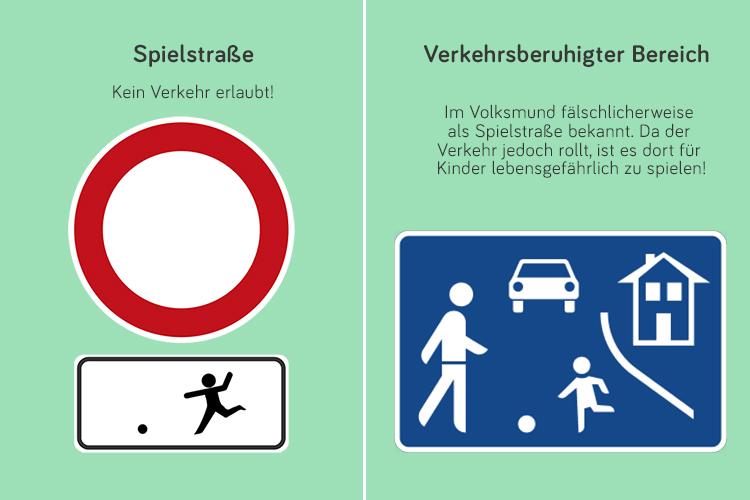 Straßenschilder Spielstraße und verkehrsberuhigter Bereich