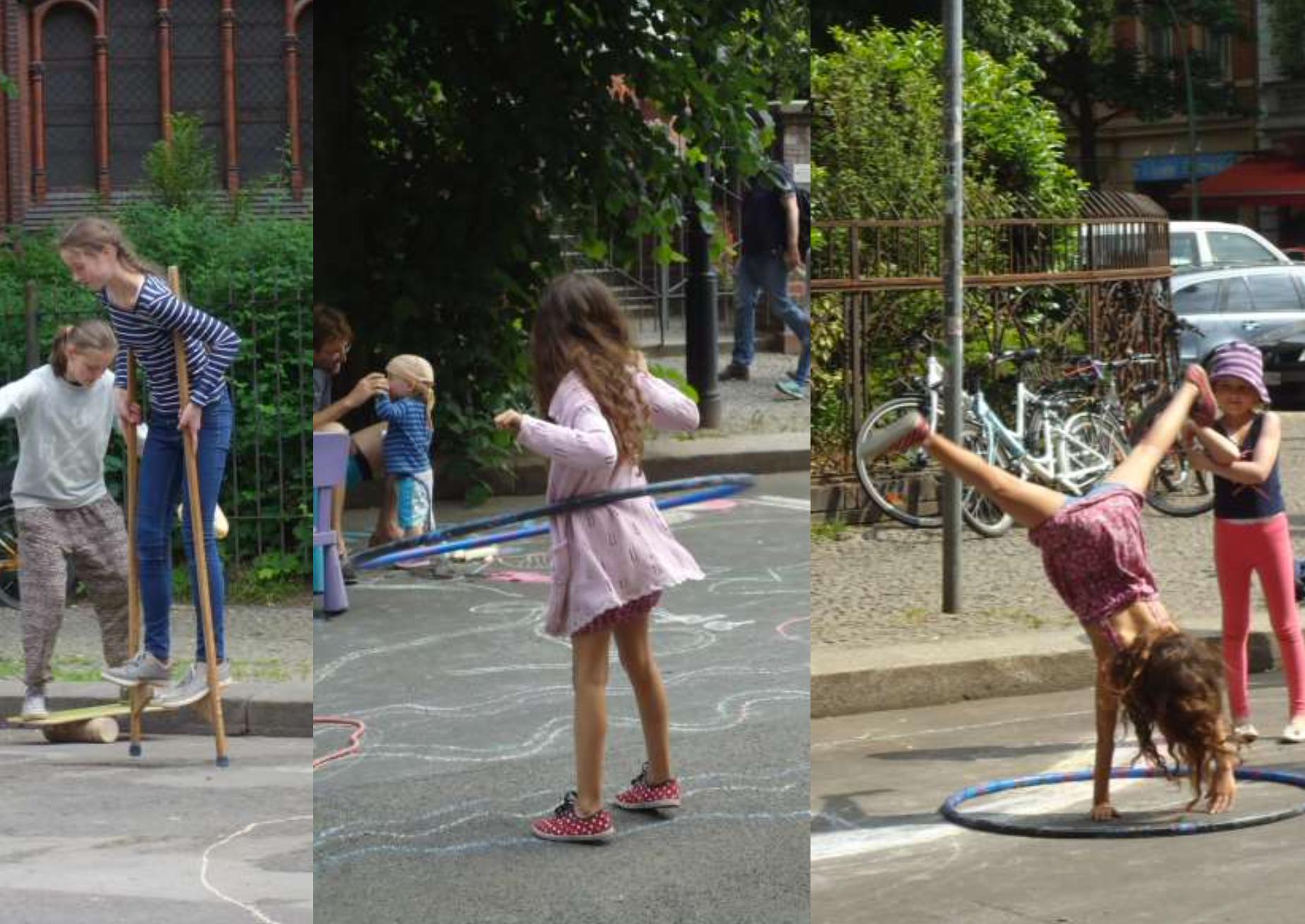 Kinder laufen Stelzen und kreisen den Hula Hoop Reifen