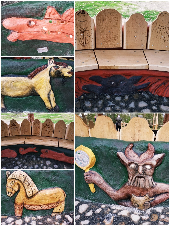 Geschnitzte Reliefs