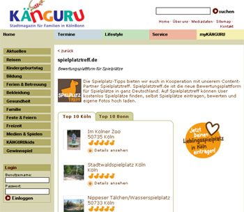 """Rubrik """"Spielplätze"""" auf der Internetseite KÄNGURU"""