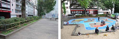 Spielstraße vorher und nachher