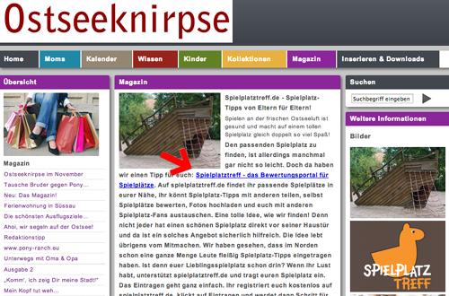 Das Magazin Ostseeknirpse empfiehlt spielplatztreff.de