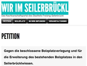 Online Petition Wir im Seilerbrückl