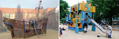 Diese zwei schönen Spielschiffe in Berlin Pankow sind jetzt Geschichte. Abgebaut, weil sie ein Sicherheitsrisiko waren. Foto: Siedenburg (links), Spielplatztreff-User Elli
