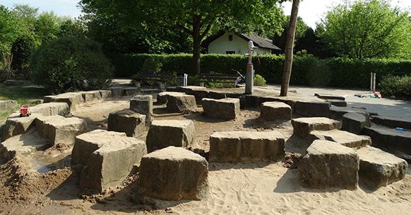 Wasserspielplatz auf dem Geldermannshof in Moers. Foto: Stadt Moers