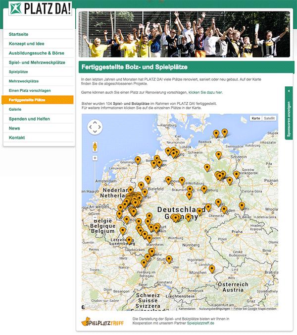 Die fertiggestellten Plätze werden bei Spielplatztreff eingetragen und auch auf der PLATZ DA! Seite in einer Karte angezeigt.