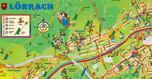 Kinderstadtplan von Lörrach, farbenfroh und aussagekräftig. Erstellt 2012