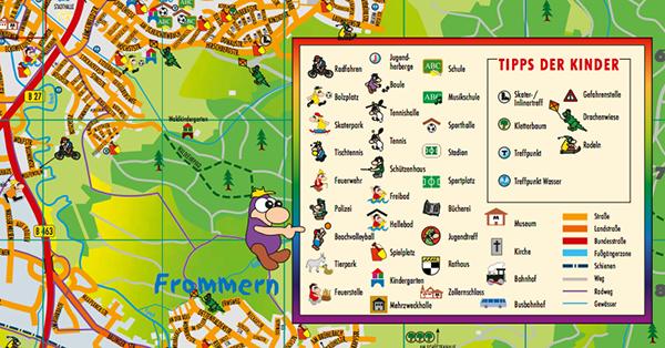 Die Karten-Legenden der Kinderstadtpläne sind ansprechend und kindgerecht gestaltet. Kinderstadtplan Balingen.