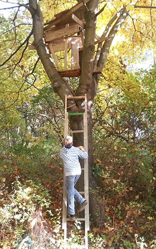 Max - der Sohn von Andreas Weber - klettert auf sein selbst gebautes Meisterwerk. Foto: Andreas Weber