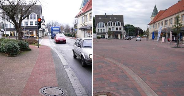 Die Kreuzung Bremer Straße / Leverner Str-Richtung Süden (vorher/nachher) Foto: Gemeinde Bohmte