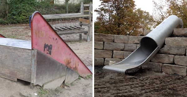 Die Arbeiten auf dem Klinkerspielplatz kommen voran. Die alte Rutsche wurde durch eine neue ersetzt. Im Sommer 2015 wird die Spielplatz-Sanierung abgeschlossen sein. Fotos: Förderverein Spielplätze Bischofsheim e.V.