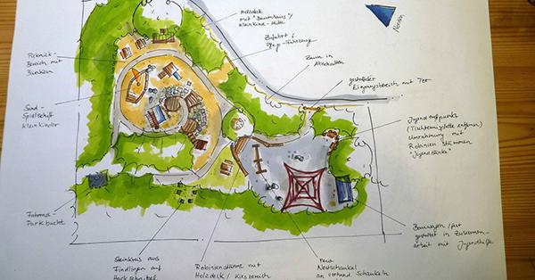 Nach der Besprechung mit der Gemeinde entstand der endgültige Entwurf für den neuen Klinkerspielplatz. Skizze: Susanne Schnell